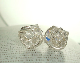 Wire Wrapped Stud Earrings- Diamond in the Wire series- Clear Swarovski Crystal Bead and Silver wire Stud Earrings