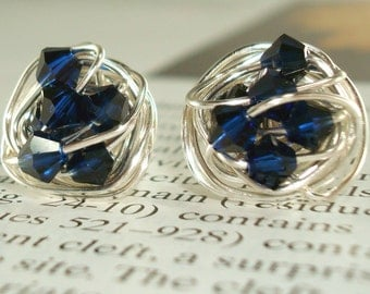 Indigo Wire Wrapped Signature Stud Earrings- Midnight -Indigo Blue Swarovski Crystal Bead and Silver wire Stud Earrings