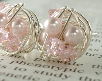 Light Pink / Rosaline - Mix It Up Series- rosaline Swarovski Glass Pearl and Crystal Bead Wire Wrapped Stud Earrings