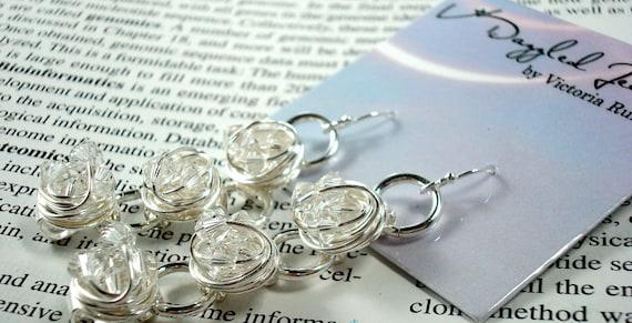 Swarovski Crystal Bead Wire wrapped long dangle earrings- Diamond in the Wire Series - Clear swarovski beads