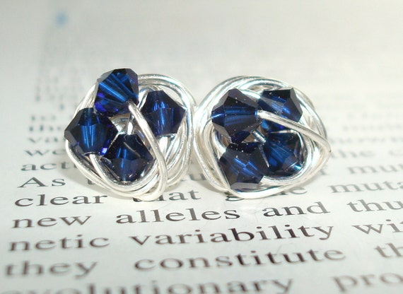 Petite Midnight Series- Signature Wire Wrapped Stud Earrings with Indigo Blue swarovksi crystal beads
