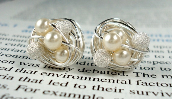 Mix It Up Series- Cream / Star Dust-Swarovski Glass Pearl and Stardust bead Wire Wrapped Stud Earrings