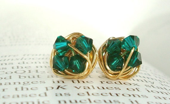 Petite Wire Wrapped Studs- Oz series- Emerald/ Dark Green Swarovski Crystal Bead and Gold Plated Wire Stud Earrings