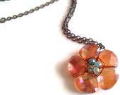 Ember Crystal Flower Necklace - Emberglow crystal petals and seafoam green center