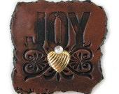 JOY - In Brown Copper Decorative Magnet Art