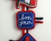 Tribute to Paris, France Grosgrain Ribbon Hair Clip Set / Eiffel Tower, Fleur de Lis, French Flag Accessory- L'AMOUR PARIS -