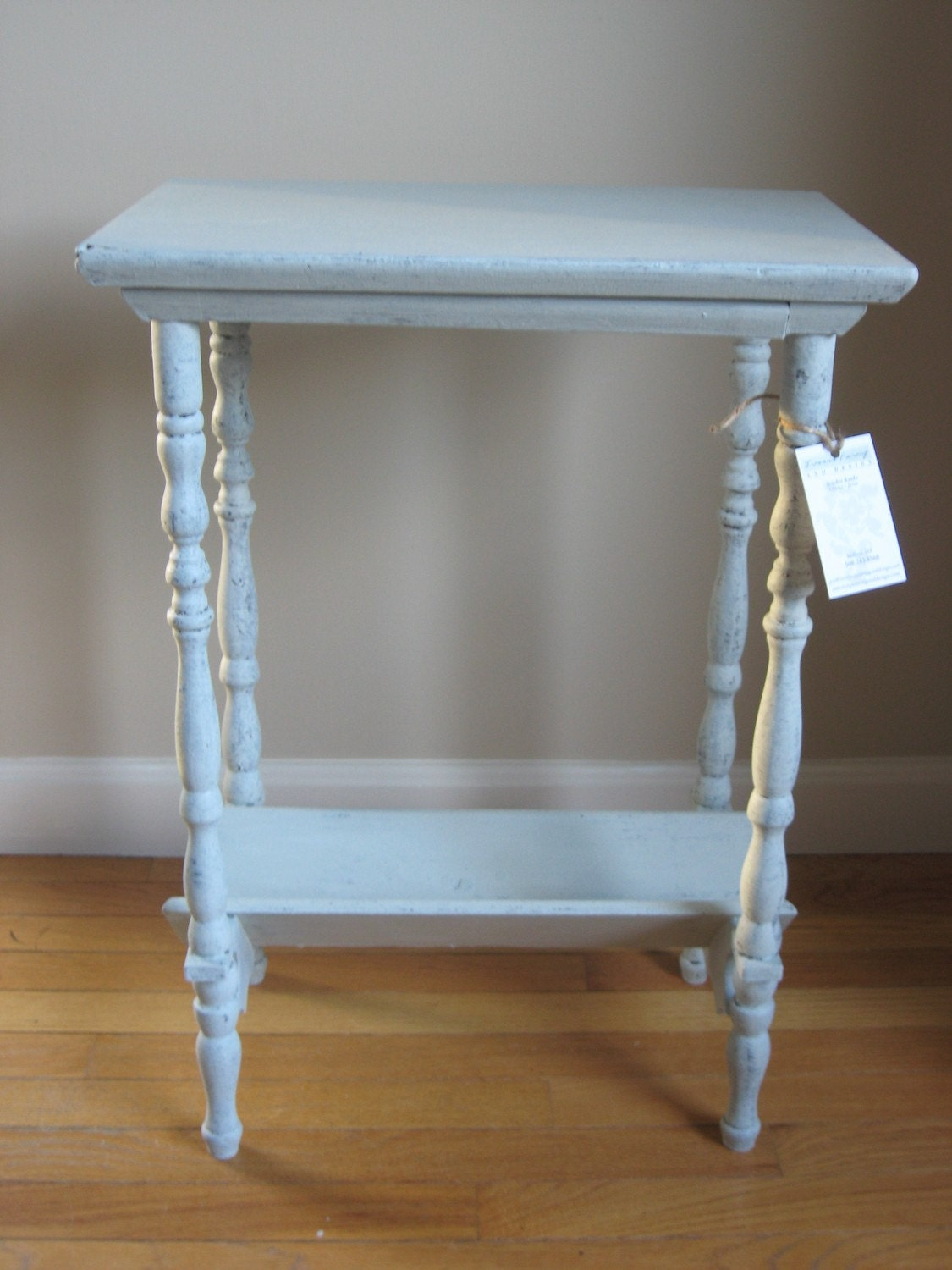 Small Cottage Style Side Table Distressed Painted In A Light