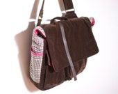 Repurposed Velour, Houndstooth & Pink Print Messenger Bag