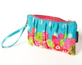 Teal Clutch with Wristlet Strap in Echino Floral Print