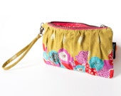 Chartreuse Clutch with Wristlet Strap in Echino Floral Print