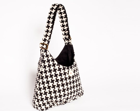 Feliz Bag Black & White Houndstooth Shoulder and Crossbody Bag