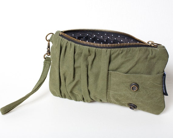 Repurposed Military Canvas Clutch & Wristlet 005