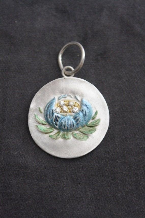 Fine Silver Enameled Blue Lotus Pendant