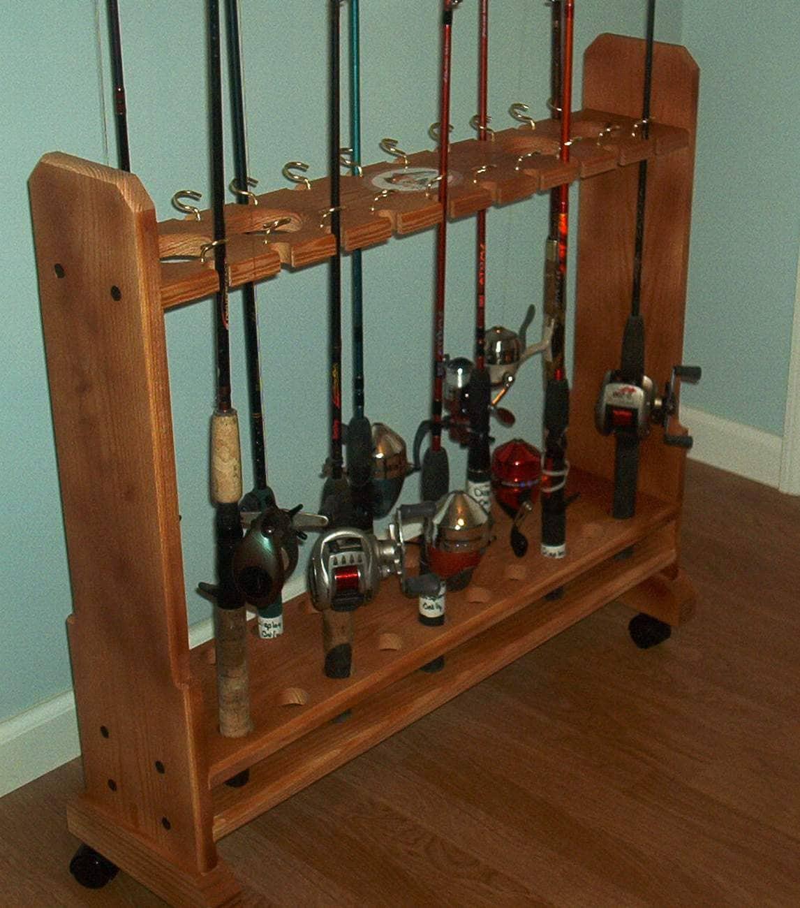 New engraved ozark wood fishing rod rack holder storage holds for Fishing rod storage