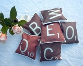 6 Mini 4 inch letter tile pillows-YOU CHOOSE which letters, customize your way