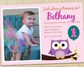 Owl Birthday Invitation GIRL - Custom photo you print