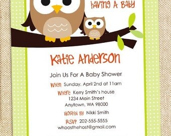 Owl Baby shower invitation - DIY