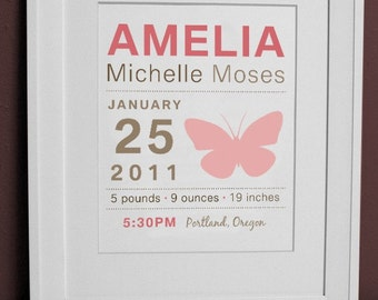 8 x 10 - Personalized Birth Announcement Print - Butterfly Wall art