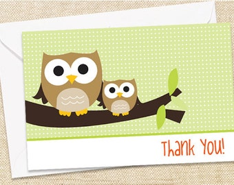 Owl Thank You Cards - set of 12
