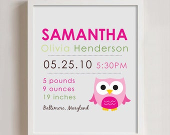 8 x 10 - Custom Birth Announcement Print - OWL wall art