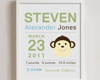 8 x 10 - Custom Birth Announcement Print - Monkey wall art