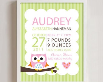 Custom Listing -  Birth print Owl wall art - 8x10 print