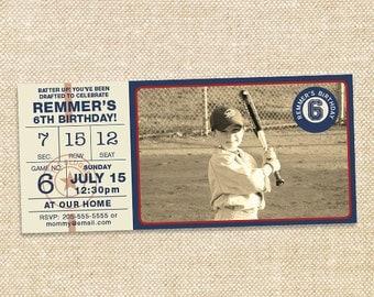 Vintage Baseball Birthday invitation - set of 15