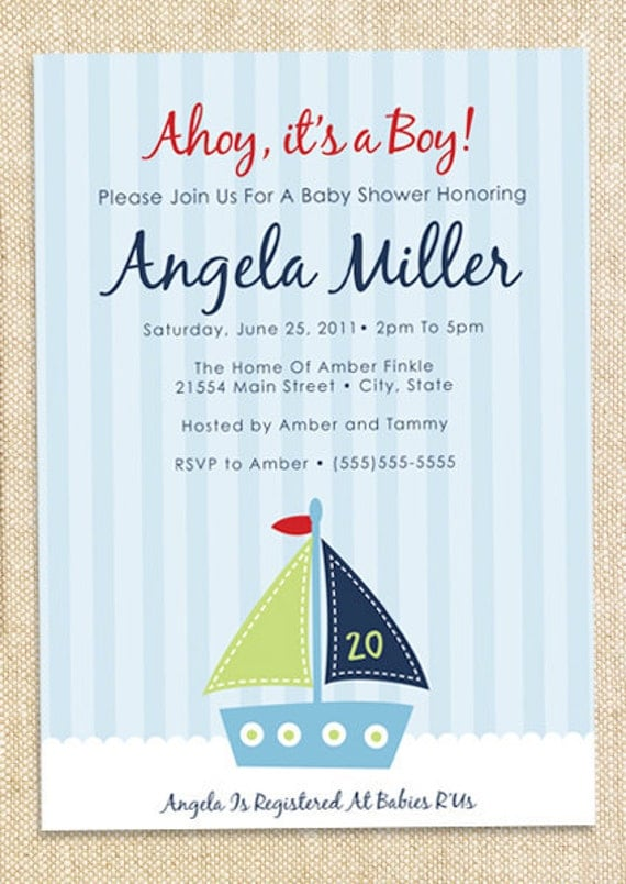 Sailboat Baby shower invitations - set of  12