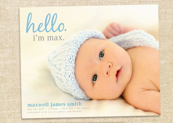Birth Announcement - digital file, you print