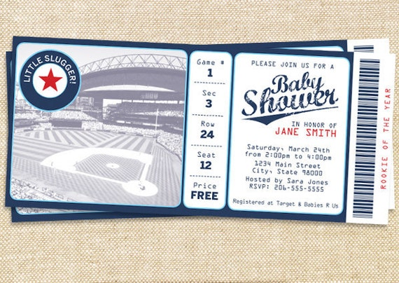 baseball baby shower invitation set of 30