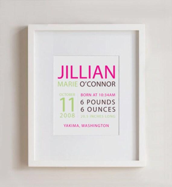 Typography Birth print -  Nursery Art