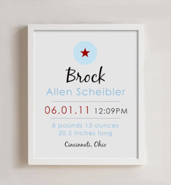 8 x 10 - Custom Birth Print - STAR wall art