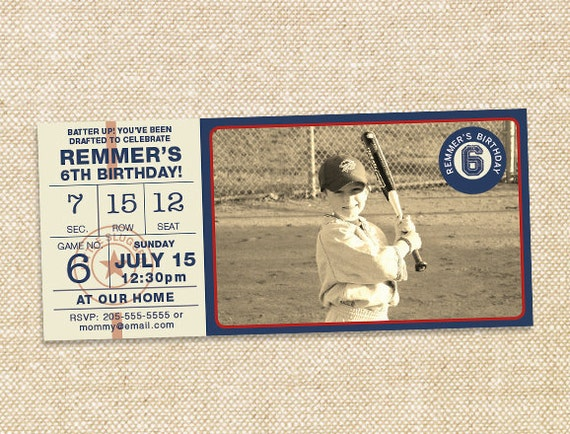 Vintage Baseball Birthday invitation - set of 15