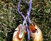 Pheasant Feathers on Purple Cord Necklace