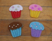 Set of 4 Felt Cupcakes