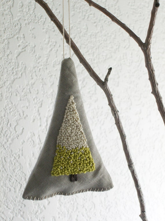 White Christmas Tree Ornament and Balsam Fir Sachet - Set of 3