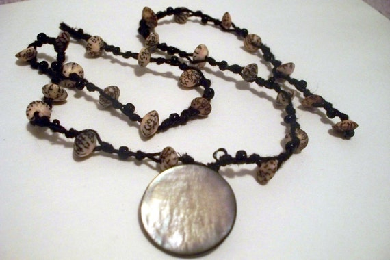 Necklace Vintage Grey Mother of Pearl Pendant W/ Real Seeds on a Black knotted Hemp Necklace one of a kind OOAK HHM