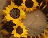 Sunflower Hand beaded Tu-Tu Tulle Wreath- Made to ORDER