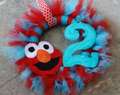 Elmo  Birthday Tu-Tu Wreath