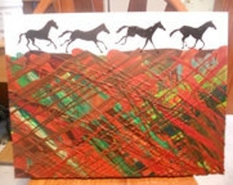 Horses Melted Crayon Painting