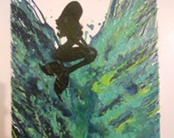 Mermaid Melted Crayon Painting
