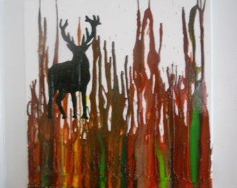 Deer Melted Crayon Painting