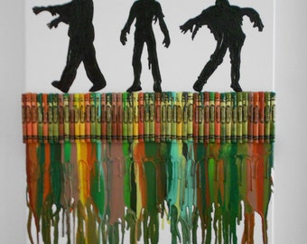 Zombies walking dead Melted Crayon Painting
