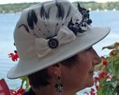 WINTER WHITE FELT FEDORA HAT WITH BLACK BERRIES AND VELVET LEAVES