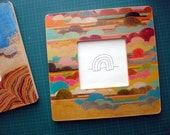 Hand Drawn Colorful Clouds Square Picture Frame