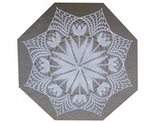 """SALE 30"""" White Lace Crochet UMBRELLA PARASOL, Mothers Day Gift"""