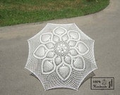 "48"" Ecru Ivory Lace Crochet Flower UMBRELLA PARASOL, Summer Wedding - Ready to Ship- Made in USA"