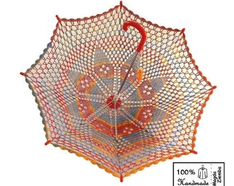"32"" Diamond Rainbow Multicolor Lace Crochet UMBRELLA PARASOL Summer Wedding - Ready to Ship"