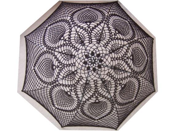 "60"" Wedding Black Lace Crochet  UMBRELLA PARASOL- Made to order"