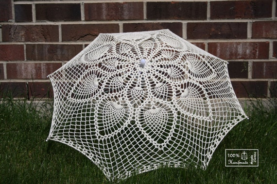 """30""""  Ivory cream Lace Pineapple Crochet UMBRELLA PARASOL, Photo Prop, Mothers Day Wedding- Made to Order"""
